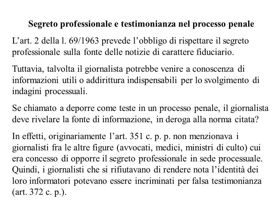 Segreto professionale e testimonianza nel processo penale