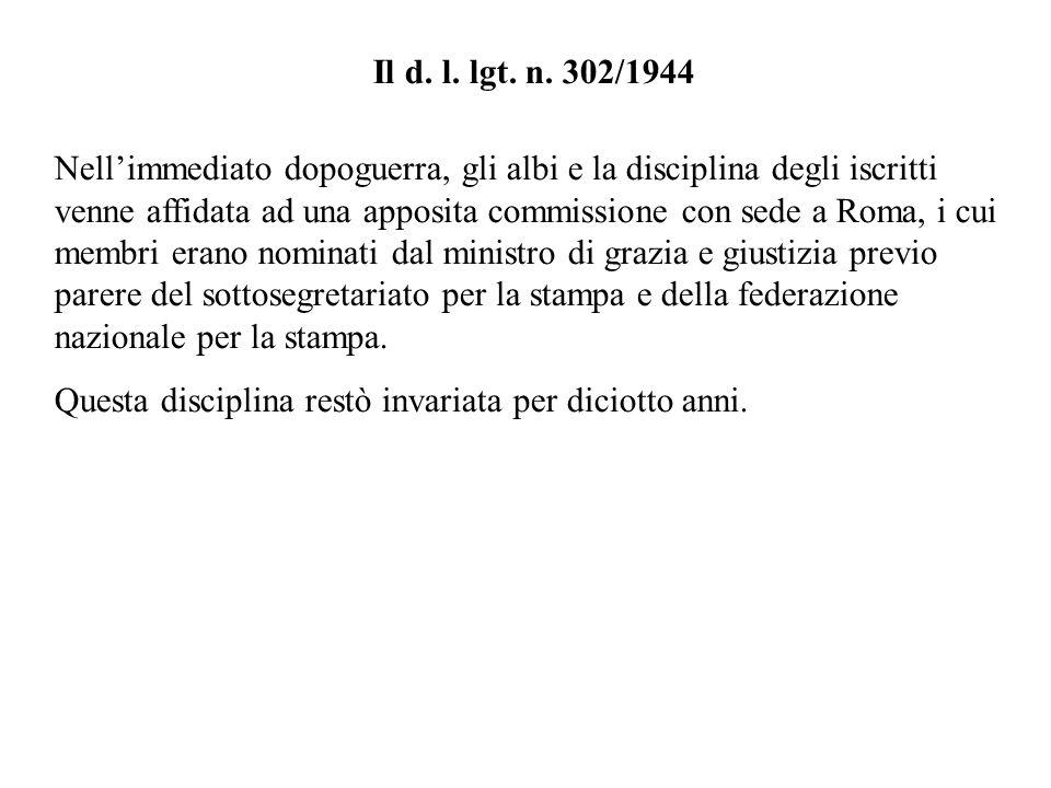 Il d. l. lgt. n. 302/1944