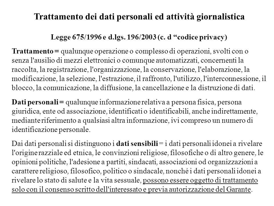 Trattamento dei dati personali ed attività giornalistica