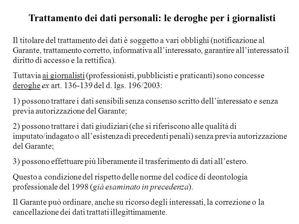Trattamento dei dati personali: le deroghe per i giornalisti