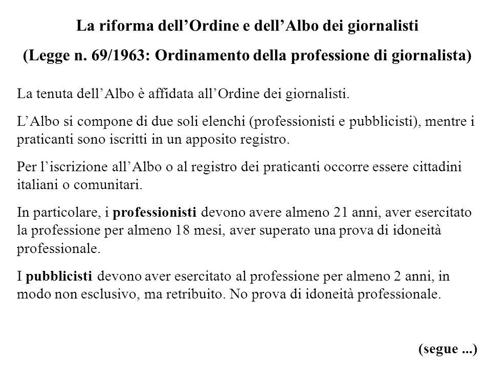 La riforma dell'Ordine e dell'Albo dei giornalisti