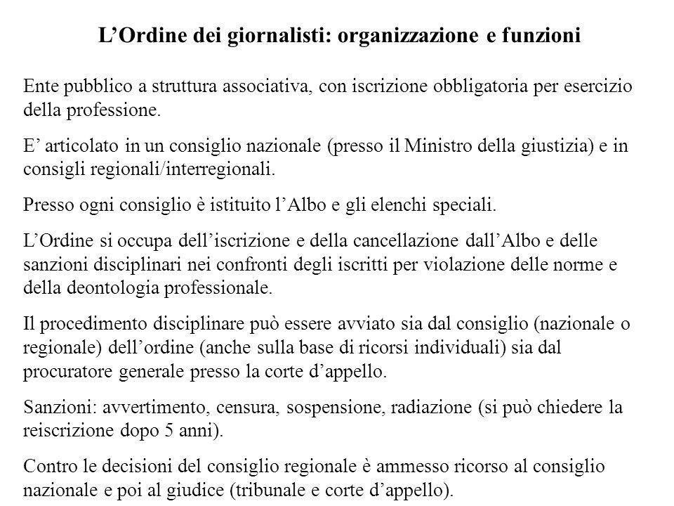 L'Ordine dei giornalisti: organizzazione e funzioni