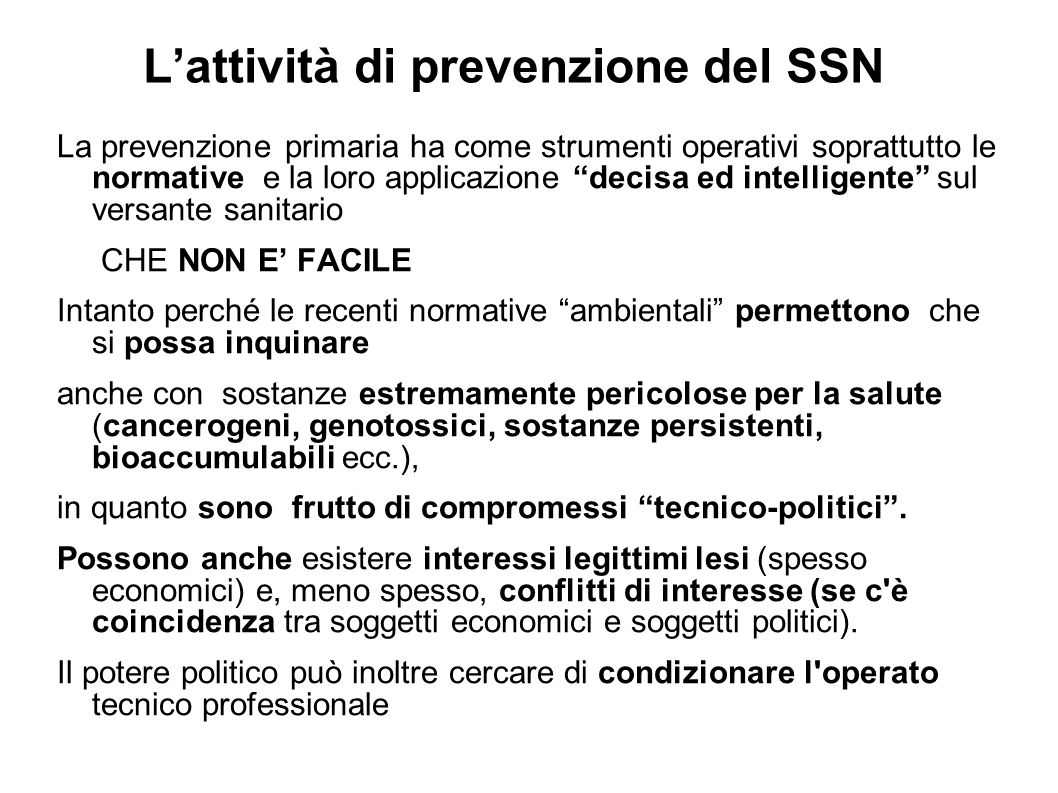 L'attività di prevenzione del SSN
