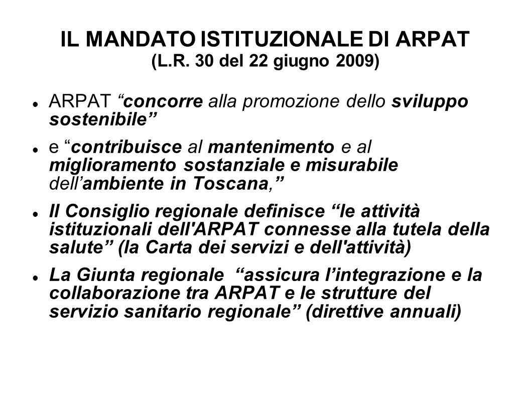 IL MANDATO ISTITUZIONALE DI ARPAT (L.R. 30 del 22 giugno 2009)