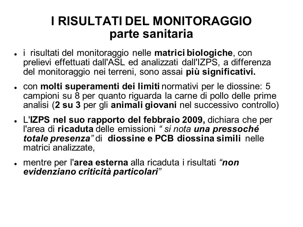 I RISULTATI DEL MONITORAGGIO parte sanitaria