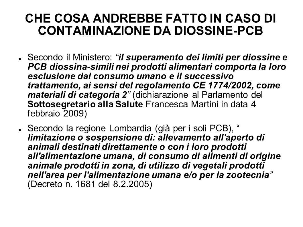 CHE COSA ANDREBBE FATTO IN CASO DI CONTAMINAZIONE DA DIOSSINE-PCB