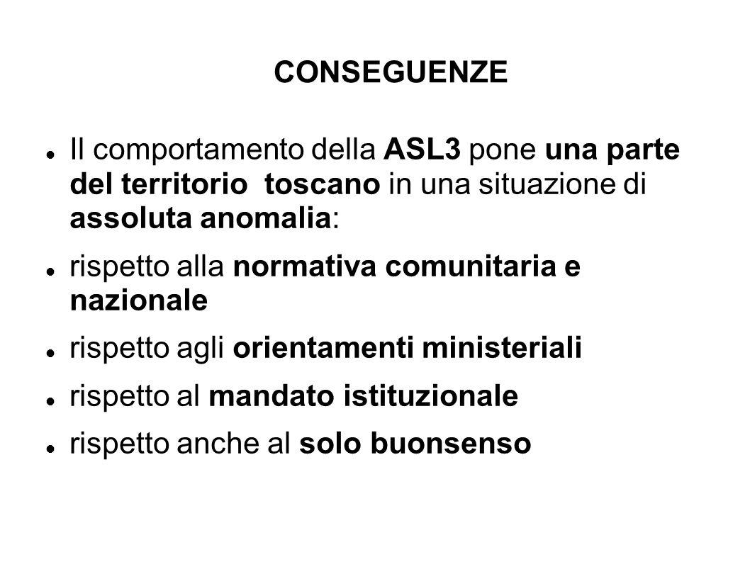 CONSEGUENZE Il comportamento della ASL3 pone una parte del territorio toscano in una situazione di assoluta anomalia: