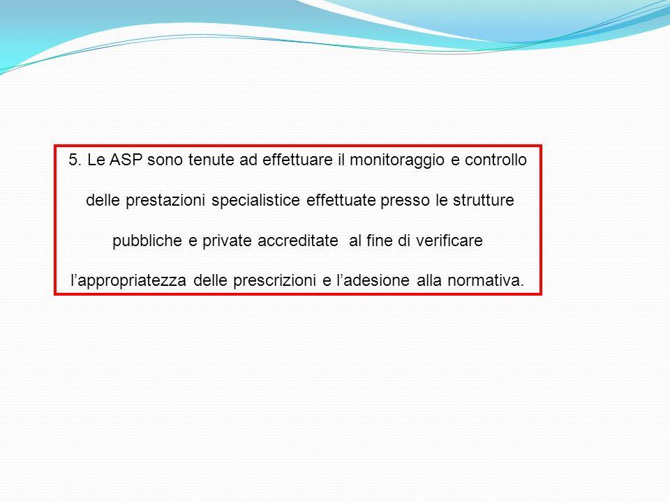 5. Le ASP sono tenute ad effettuare il monitoraggio e controllo