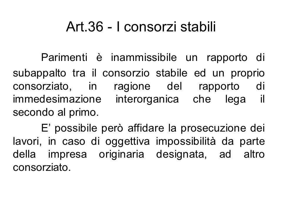 Art.36 - I consorzi stabili
