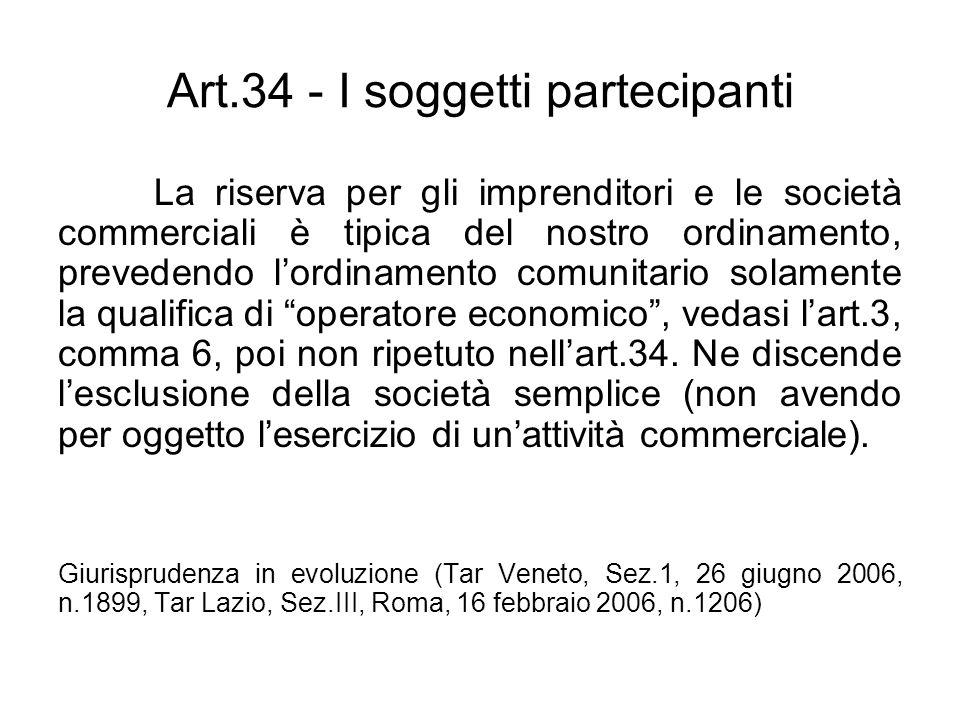 Art.34 - I soggetti partecipanti