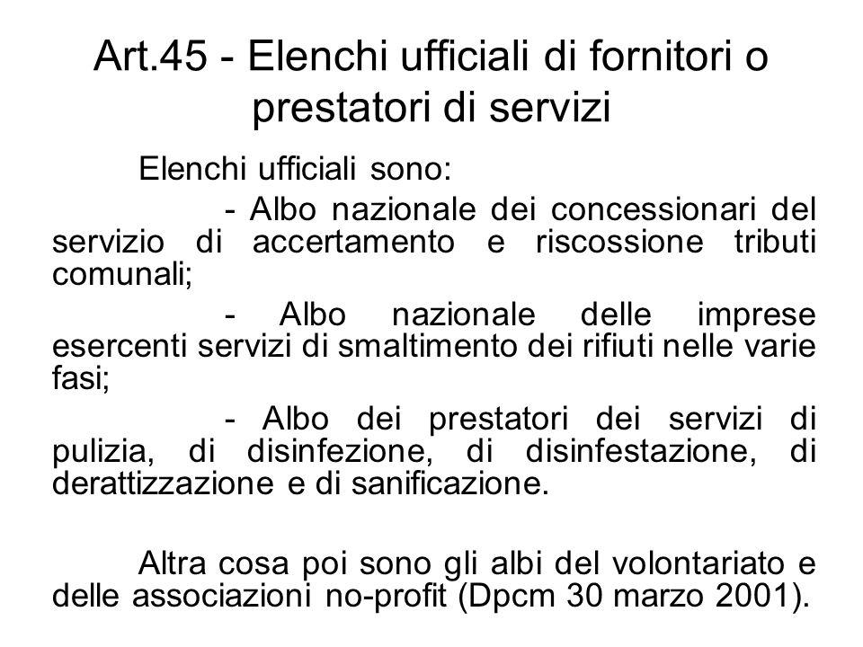 Art.45 - Elenchi ufficiali di fornitori o prestatori di servizi