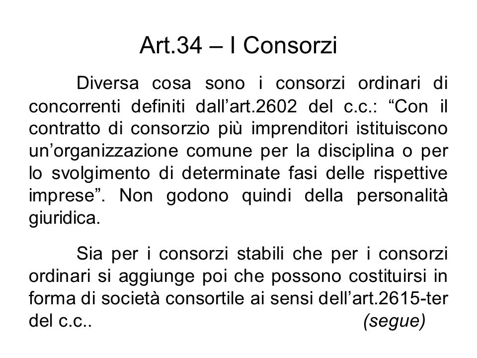 Art.34 – I Consorzi
