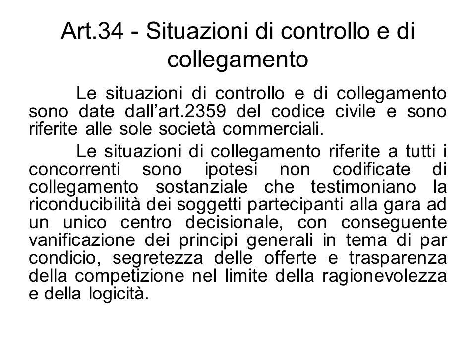 Art.34 - Situazioni di controllo e di collegamento