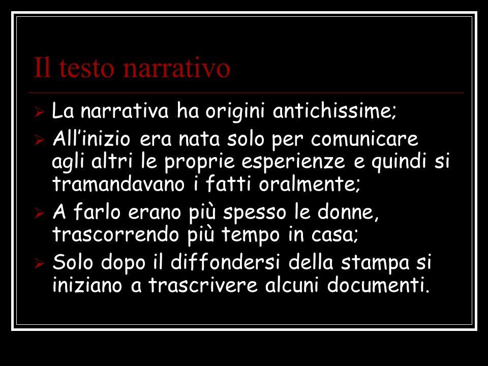 Il testo narrativo La narrativa ha origini antichissime;
