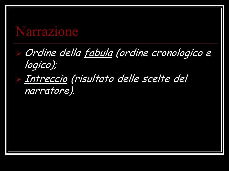Narrazione Ordine della fabula (ordine cronologico e logico);