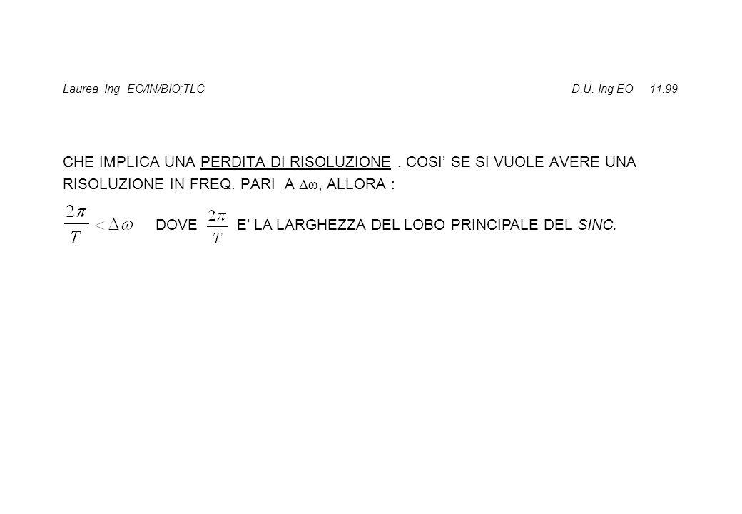 Laurea Ing EO/IN/BIO;TLC D.U. Ing EO 11.99