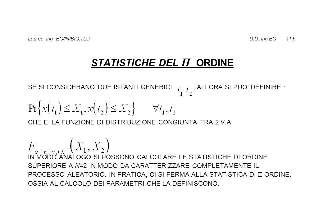 STATISTICHE DEL II ORDINE