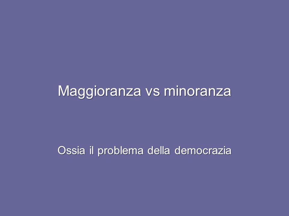 Maggioranza vs minoranza