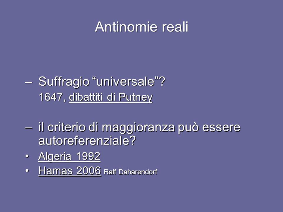 Antinomie reali Suffragio universale