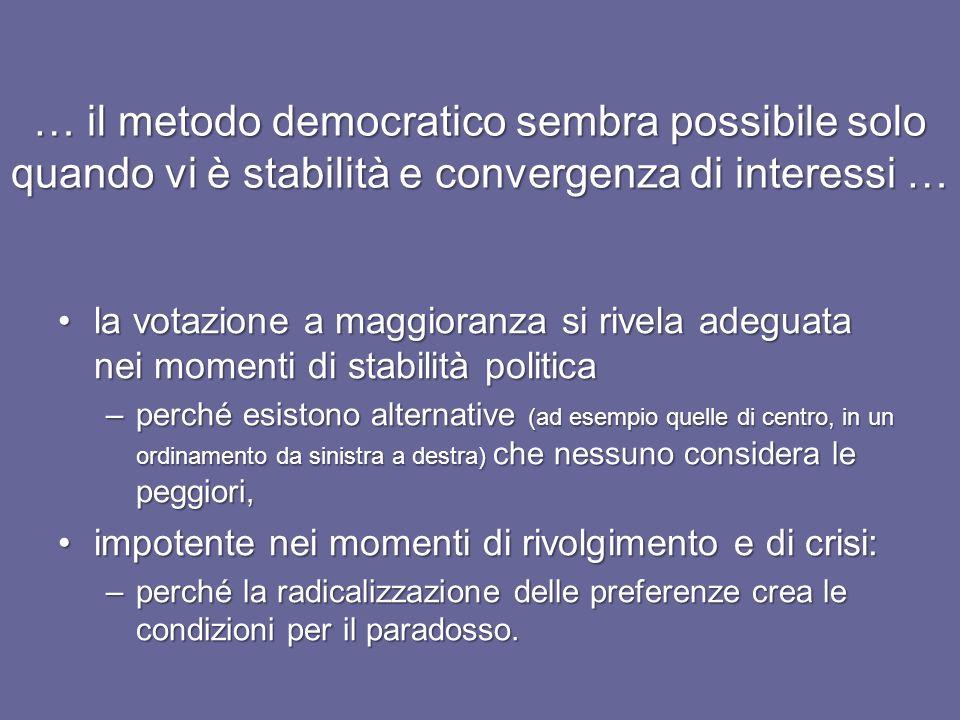 … il metodo democratico sembra possibile solo quando vi è stabilità e convergenza di interessi …