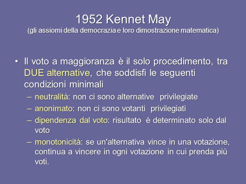 1952 Kennet May (gli assiomi della democrazia e loro dimostrazione matematica)