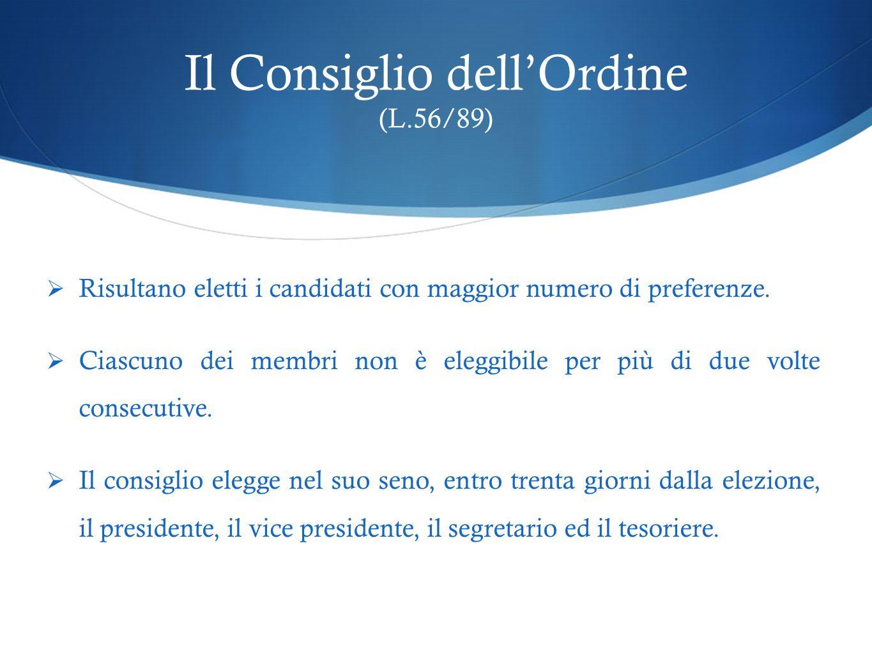 Il Consiglio dell'Ordine (L.56/89)