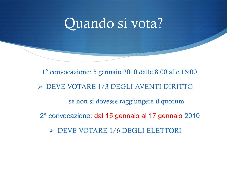 Quando si vota 1° convocazione: 5 gennaio 2010 dalle 8:00 alle 16:00