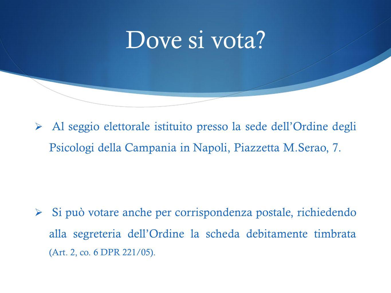 Dove si vota Al seggio elettorale istituito presso la sede dell'Ordine degli Psicologi della Campania in Napoli, Piazzetta M.Serao, 7.