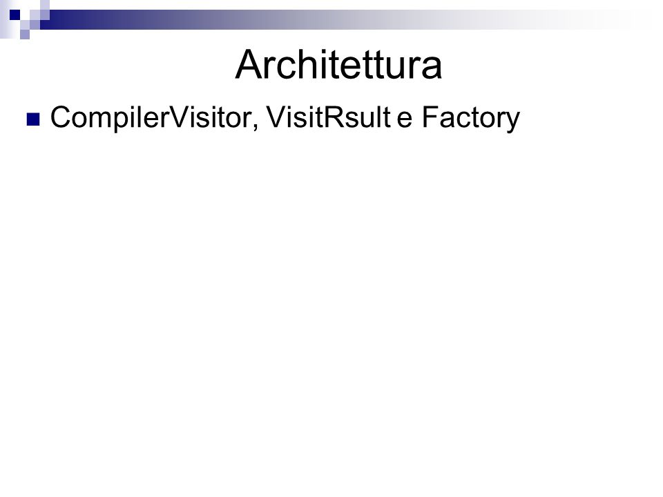 Architettura CompilerVisitor, VisitRsult e Factory
