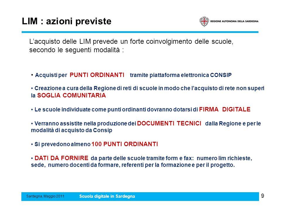 LIM : azioni previste L'acquisto delle LIM prevede un forte coinvolgimento delle scuole, secondo le seguenti modalità :