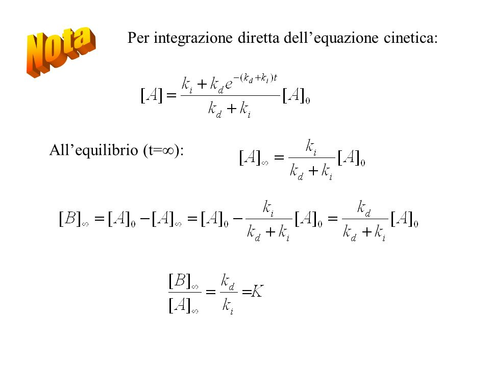 Nota Per integrazione diretta dell'equazione cinetica: