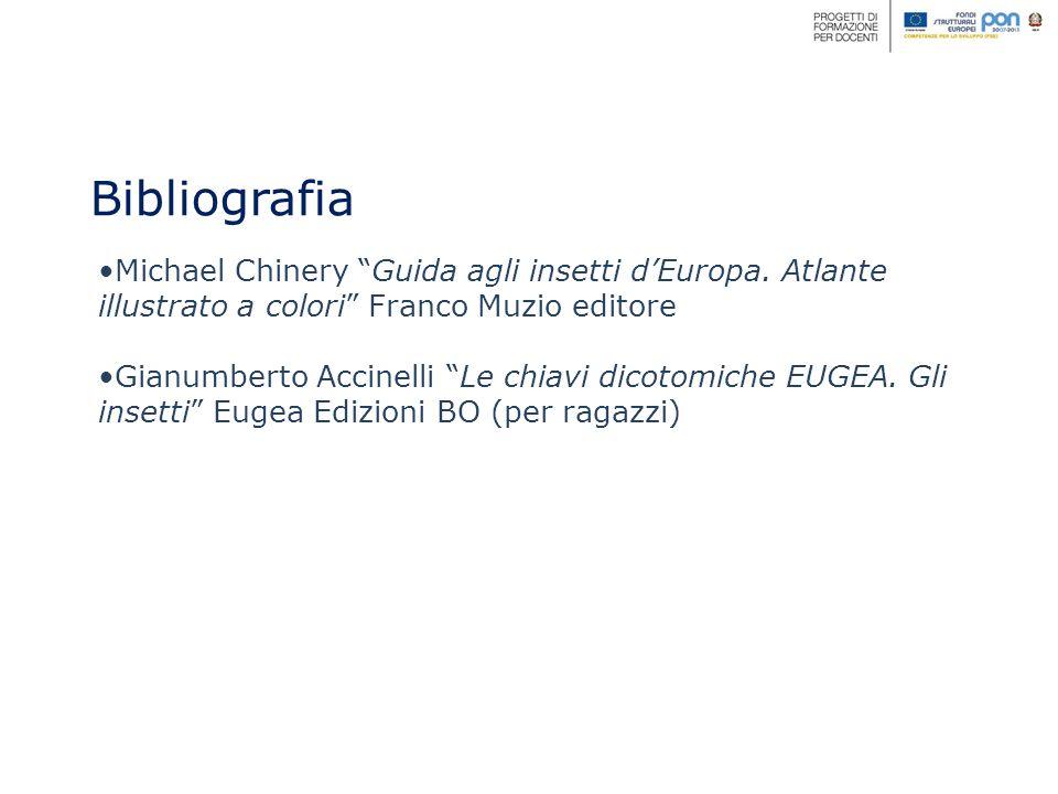 Bibliografia Michael Chinery Guida agli insetti d'Europa. Atlante illustrato a colori Franco Muzio editore.