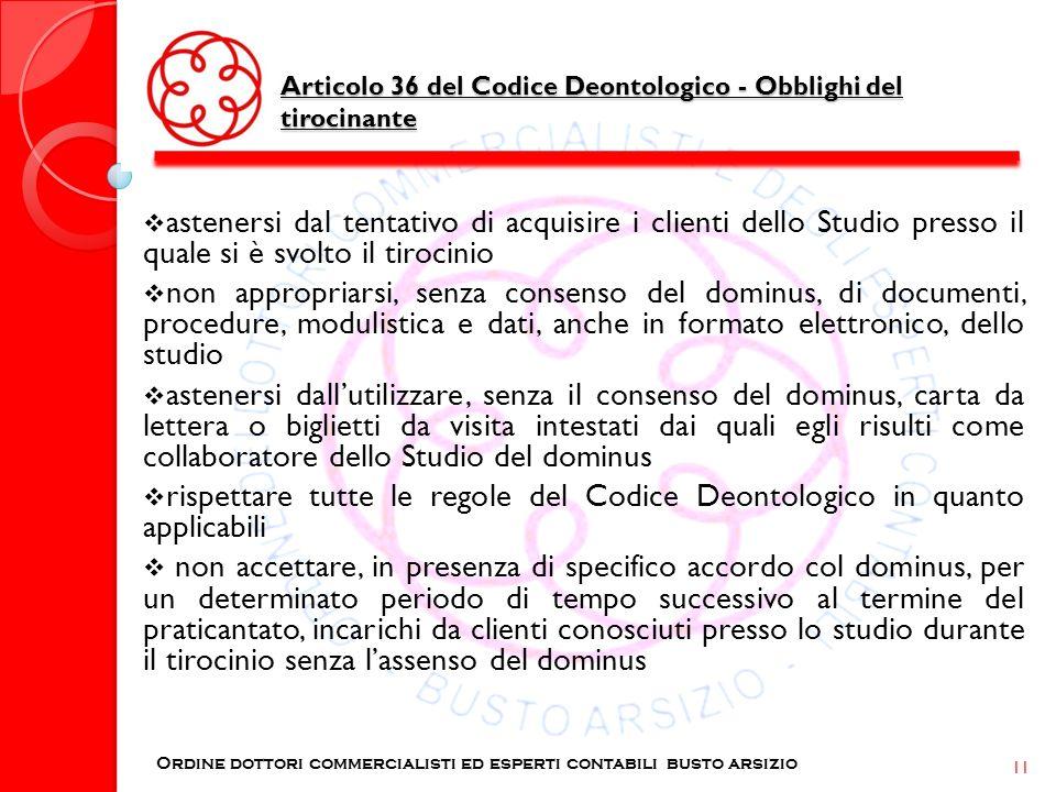 Articolo 36 del Codice Deontologico - Obblighi del tirocinante