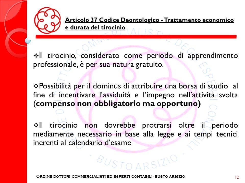 Articolo 37 Codice Deontologico - Trattamento economico e durata del tirocinio