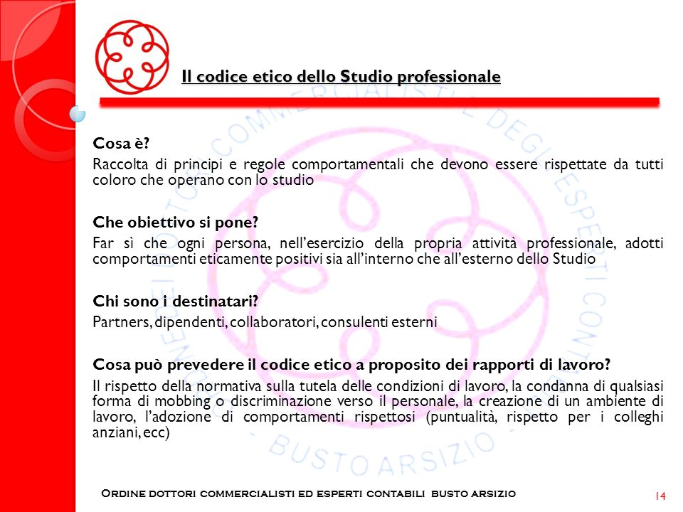 Il codice etico dello Studio professionale