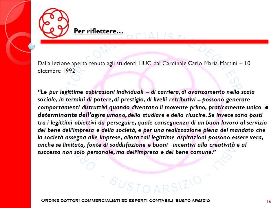 Per riflettere… Dalla lezione aperta tenuta agli studenti LIUC dal Cardinale Carlo Maria Martini – 10 dicembre 1992.