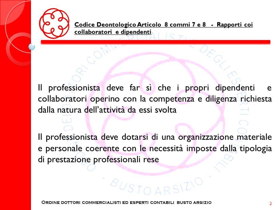 Codice Deontologico Articolo 8 commi 7 e 8 - Rapporti coi collaboratori e dipendenti