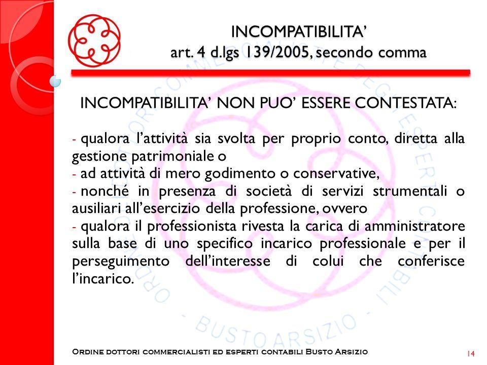 INCOMPATIBILITA' art. 4 d.lgs 139/2005, secondo comma