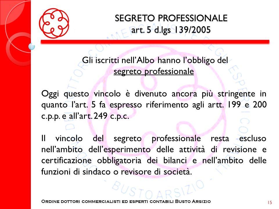 SEGRETO PROFESSIONALE art. 5 d.lgs 139/2005