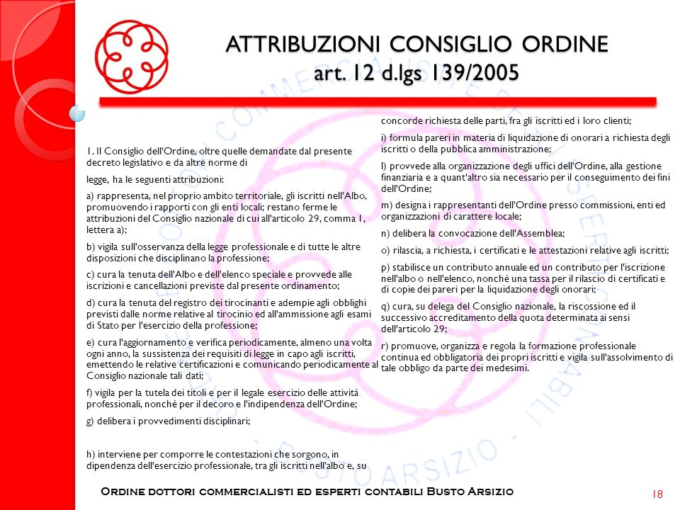 ATTRIBUZIONI CONSIGLIO ORDINE art. 12 d.lgs 139/2005