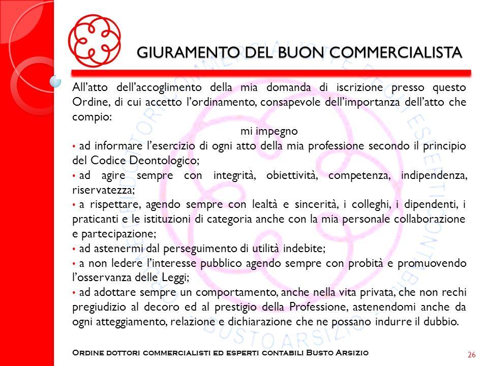 GIURAMENTO DEL BUON COMMERCIALISTA