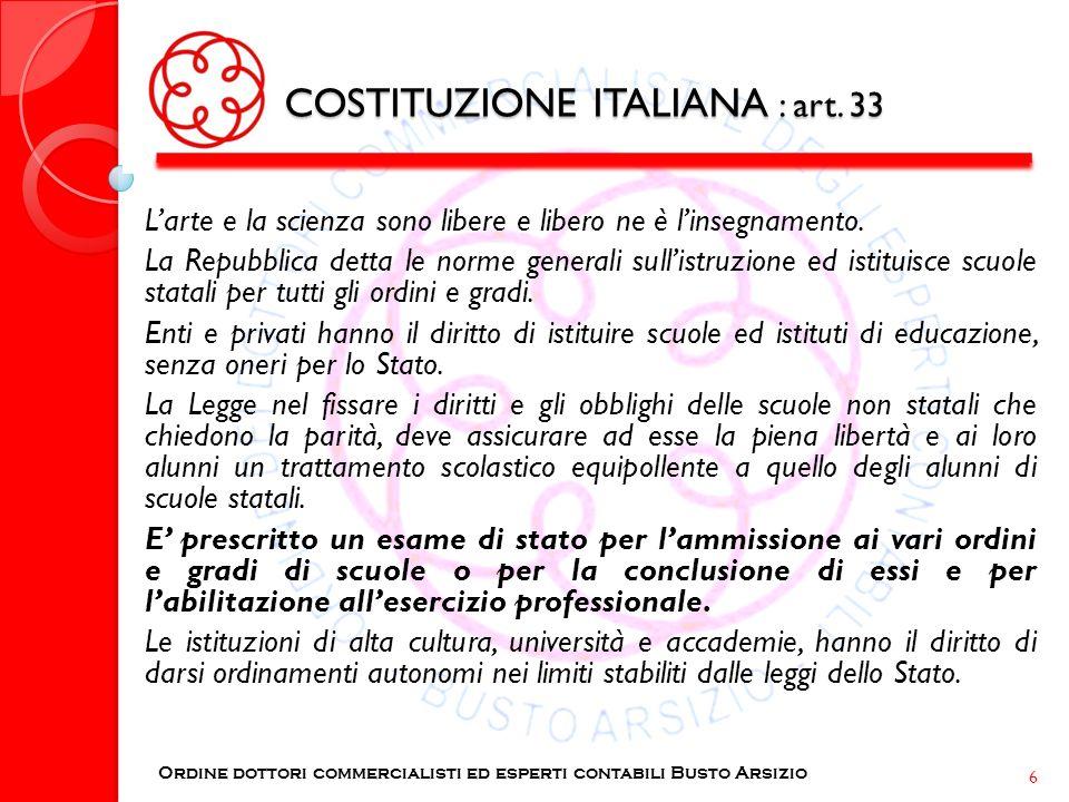 COSTITUZIONE ITALIANA : art. 33