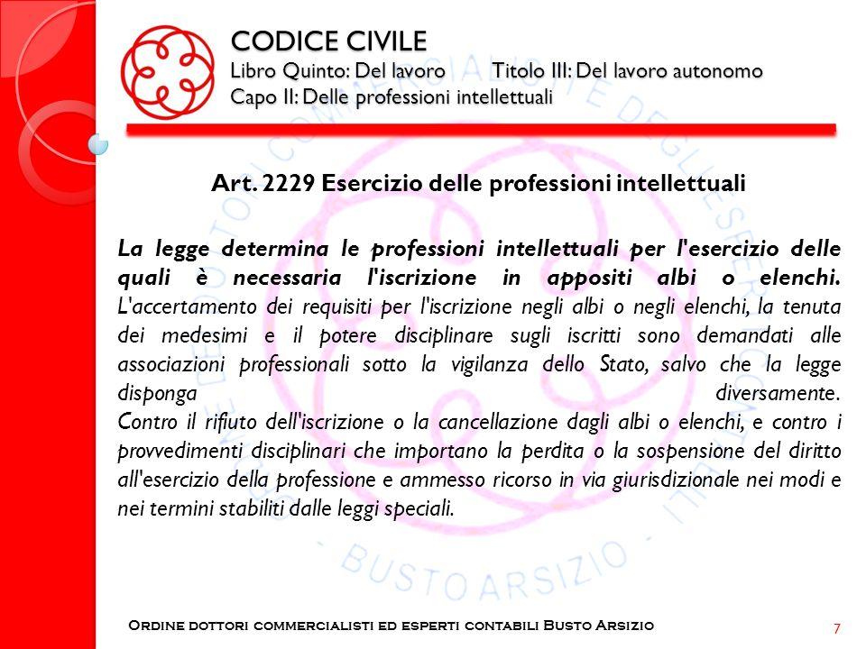 Art. 2229 Esercizio delle professioni intellettuali