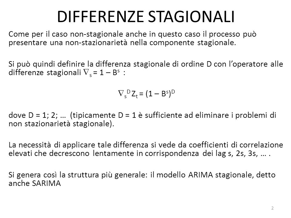 DIFFERENZE STAGIONALI