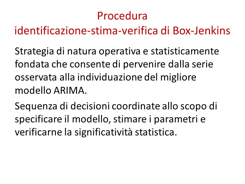 Procedura identificazione-stima-verifica di Box-Jenkins