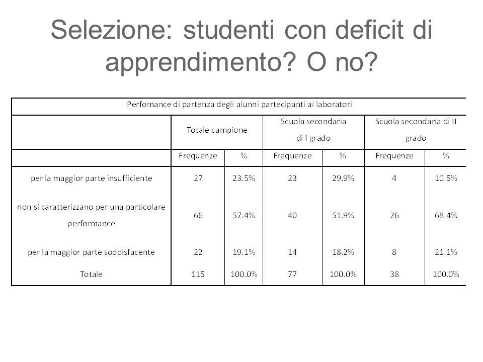 Selezione: studenti con deficit di apprendimento O no
