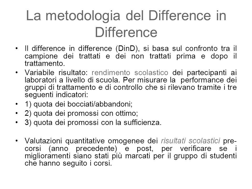 La metodologia del Difference in Difference