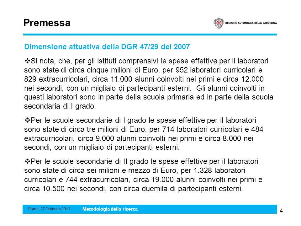 Premessa Dimensione attuativa della DGR 47/29 del 2007