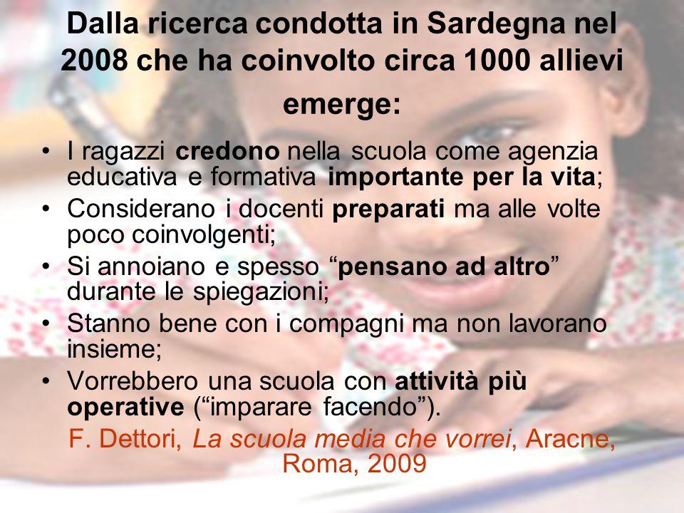 F. Dettori, La scuola media che vorrei, Aracne, Roma, 2009