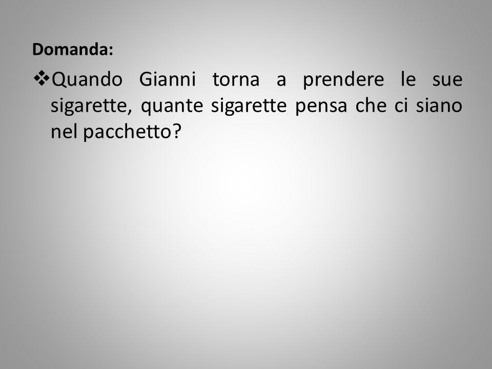 Domanda: Quando Gianni torna a prendere le sue sigarette, quante sigarette pensa che ci siano nel pacchetto